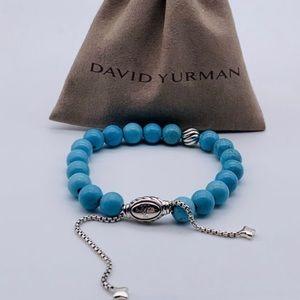 David Yurman Turquoise Silver Wave Bead Bracelet
